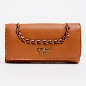 GUESS Nessa Slim Clutch Brown faux leather wallet